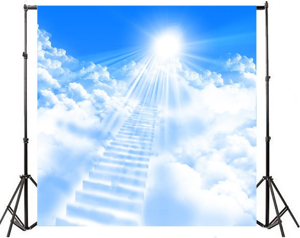 AOFOTO 10x10ft Stairway to Heaven Backdrop Celestial Stairs Paradise Dreamy Cloud Photography Background Divine Sky Sunlight Belief Pray Faith Bless Photo Studio Props Wallpaper Adult Kid Portrait