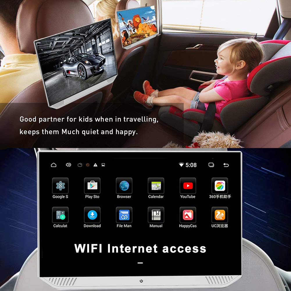 CAPTIANKN Car Video Player 13-inch Large Screen Android Monitor with HDMI//WIFI//Bluetooth Rear Seat Entertainment Car Headrest Screen