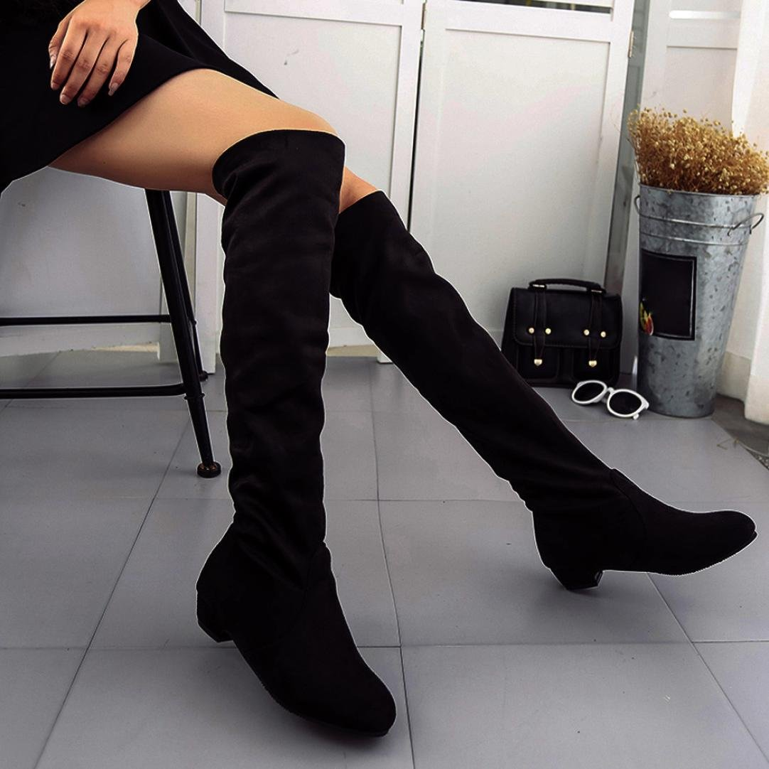 Fheaven Women Winter Autumn Flat Boots Shoes High Leg Slouchy Suede Over The Knee Long Boots (US:8, Black)