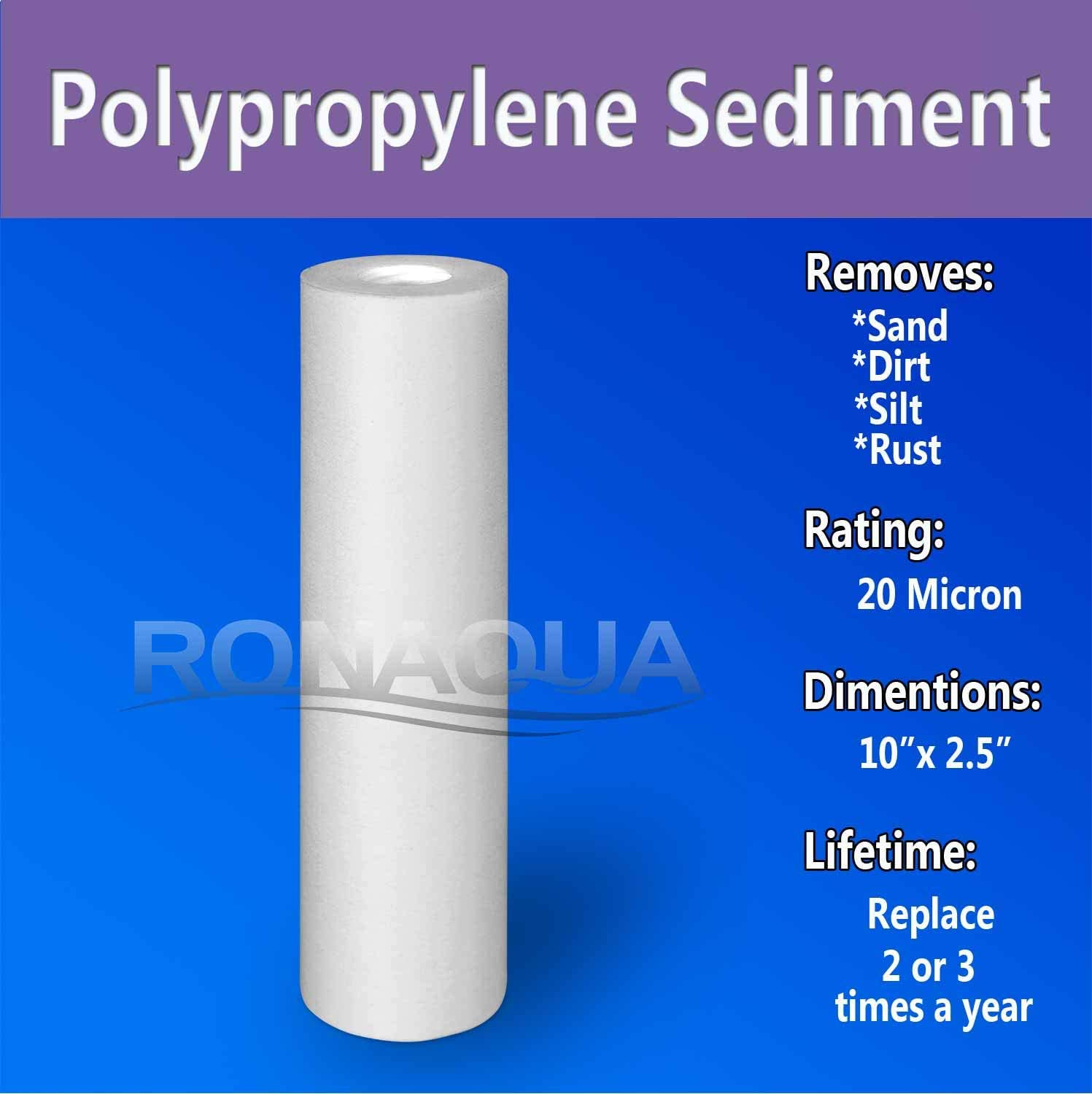 Dirt Rust Four Layers of Filtration Silt Ronaqua 1 Micron Sediment Water Filter Cartridge 10x 2.5 Removes Sand Made from Polypropylene 6 Pack