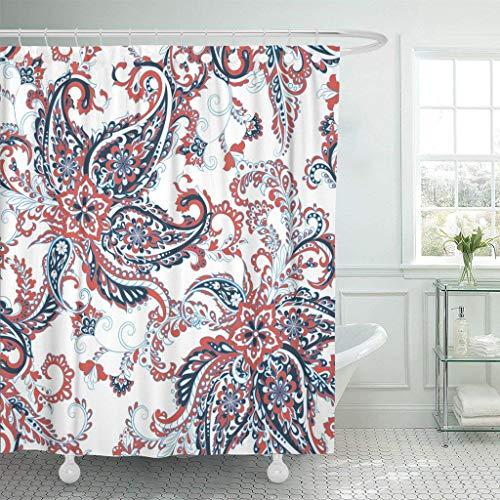 Afagahahs Fabric Shower Curtain Curtains with Hooks Batik Damask Paisley Pattern Floral Vintage Carpet China Chinese Decoupage Flower Garnet India Waterproof Decor Bathroom