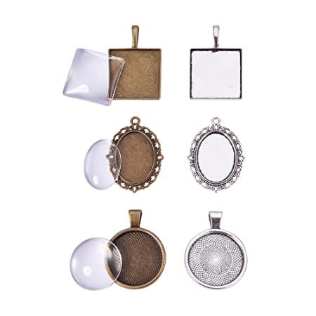 PandaHall Elite 15Sets 3 Shape Square, Oval, Round Antique Bronze Tibetan Alloy Hollow Pendant Trays Blank Bezel with Clear Glass Cabochon Dome Tiles for Crafting DIY Jewelry Making