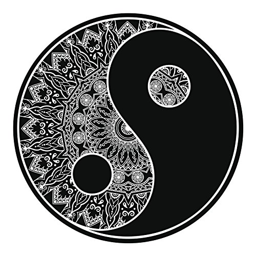 (Black and White Mandala Flower Pattern Yin Yang Symbol Icon #2 Vinyl Decal Sticker (4