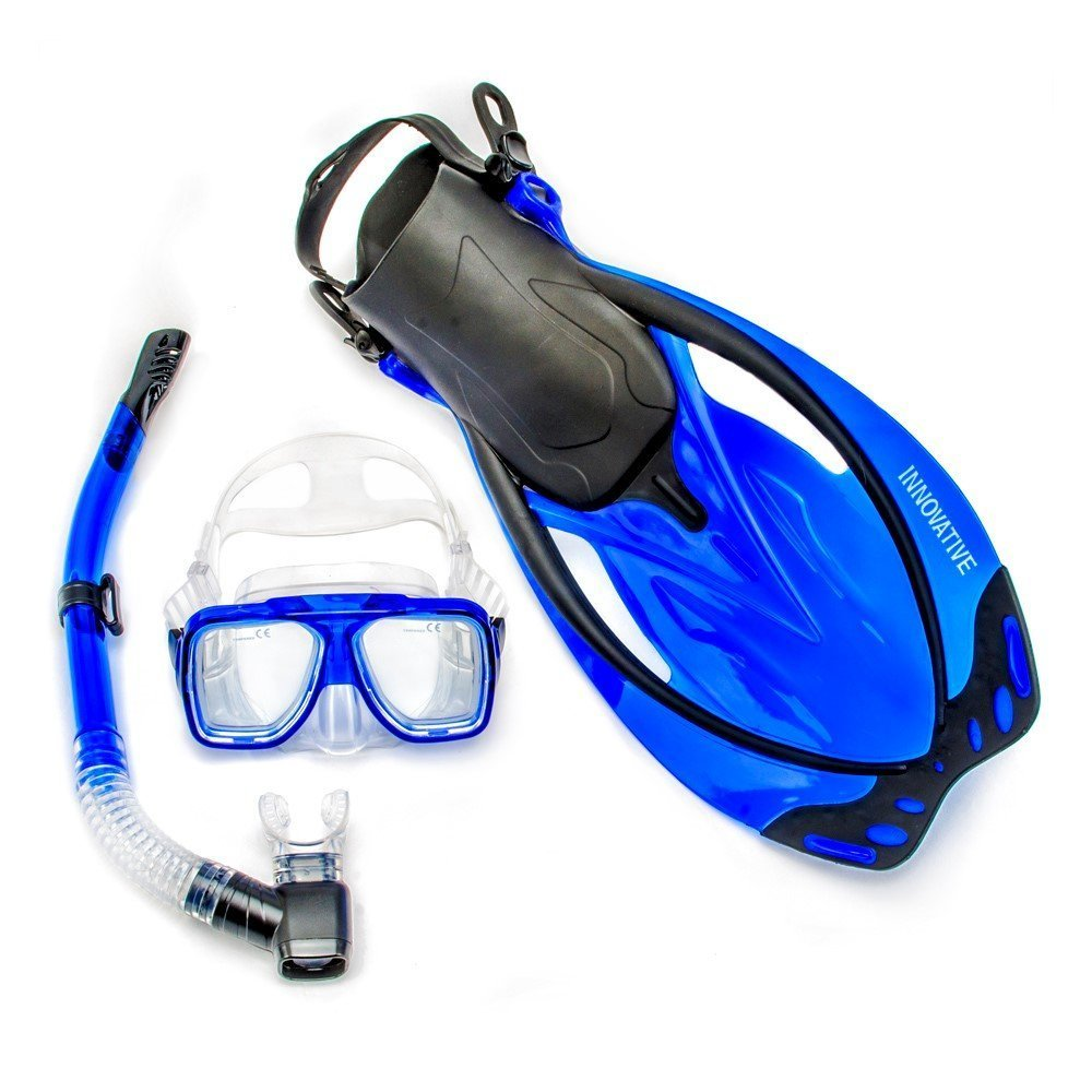 Innovative Scuba Concepts MSF4661 REEF, Adult Snorkel Set, Mask, Fins, Snorkel and Bag