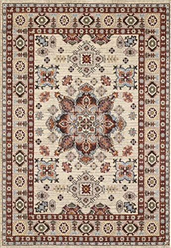 GLORY RUGS Gabbeh Collection Oriental Area Rug 8×10 Medallion Cream Hand Touch Vintage Traditional Texture for Bedroom Living Dining Room 7315 8×10, Cream