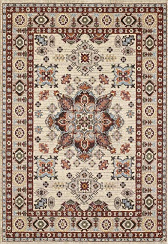 Golden Rugs Gabbeh Collection Oriental Area Rug 8x10 Medallion Cream Hand Touch Vintage Traditional Texture for Bedroom Living Dining Room 7315 (8x10, ()