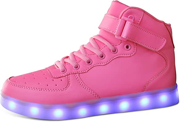 MILEADER LED Shoes High Top Sneakers 7 Colors USB Charging Sneakers Light Up Shoes for Girls Boys Toddles Kids with Remote Control