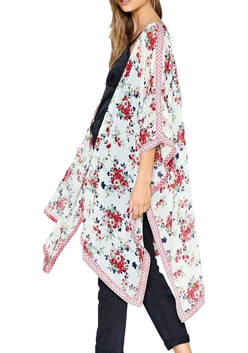 Chunoy Women Fashion 2018 Summer Floral Print Kaftan Kimono Cardigan Loose Cover Up White Medium