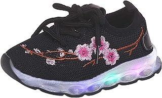 kunfang Carino Ricamato per Bambini Scarpe Colorate LED Luminoso Scarpe Modello Lettera Scarpe da Bambino Sport Mesh Scarpe Antiscivolo