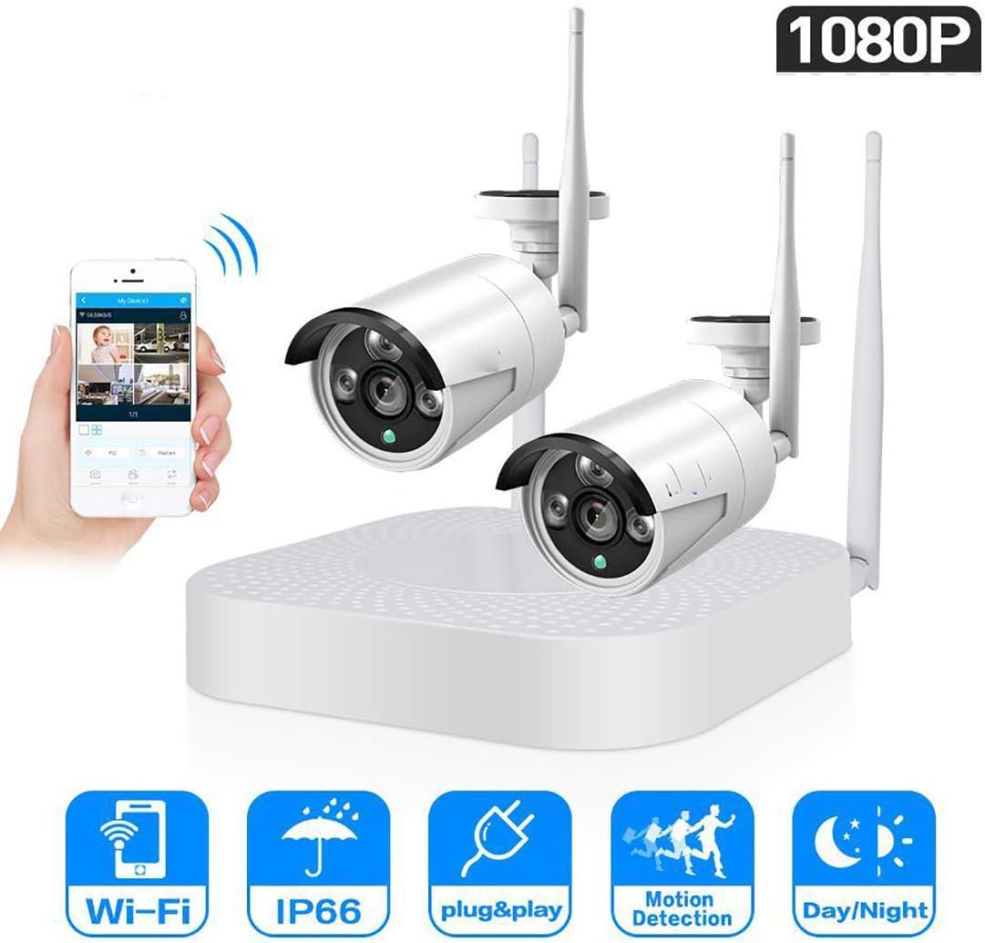 Sistema de cámaras de Circuito Cerrado de televisión inalámbrico de 4 Canales 1080P 2pcs 2MP WiFi IP Impermeable cámara de visión Nocturna IR Kit de Seguridad del Sistema de vigilancia