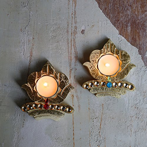 Decoration Set of 2 Wooden Lotus Table Votive Tea Light Holders with Gold foil Finish and Studded with Beautiful Stones Traditional Diya for Diwali Home Festive Decor T Light Holder Set Diwali Gift