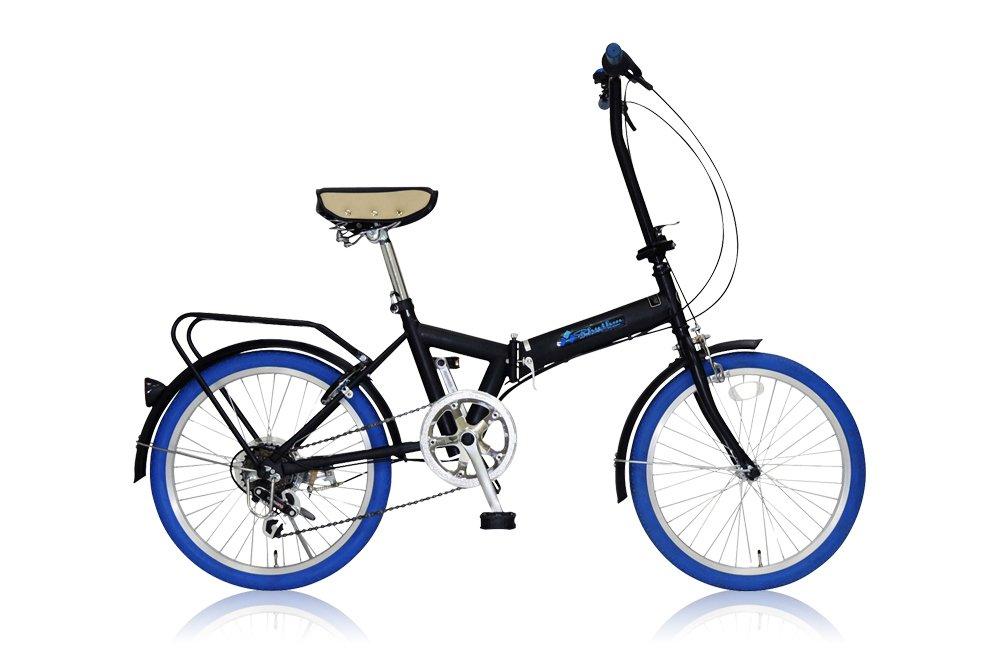 リズム(RHYTHM) 20インチ 折りたたみ自転車 シマノ6段変速 前後泥除け/リアキャリア標準装備 カギ付き FD1B-206 ブルー B007RKZ2J0