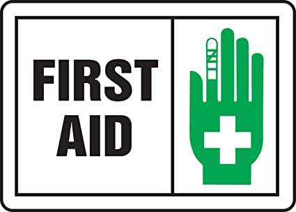 Green//Black on White LegendFIRST AID with Graphic Accuform MFSD594VP Plastic Safety Sign 7 Length x 10 Width x 0.055 Thickness