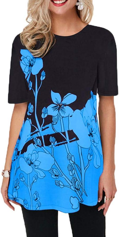 Primavera Verano Nueva Camiseta Suelta con Cuello Redondo Y Manga Corta para Mujer: Amazon.es: Ropa y accesorios