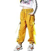 AFirst Pantalones deportivos de Hip Hop para niñas grandes con cintura elástica y bolsillos de 4 a 16 años