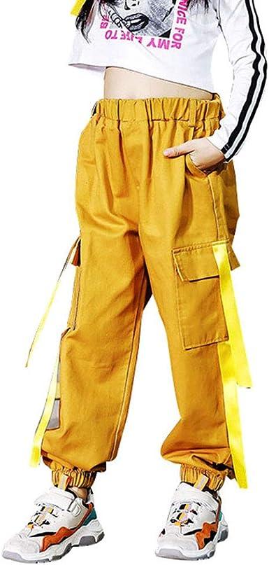 Afirst Pantalones Deportivos Para Ninas Grandes Estilo Hip Hop Casuales Cintura Elastica Pantalones Cargo Con Bolsillos De 4 A 16 Anos Amazon Es Ropa Y Accesorios