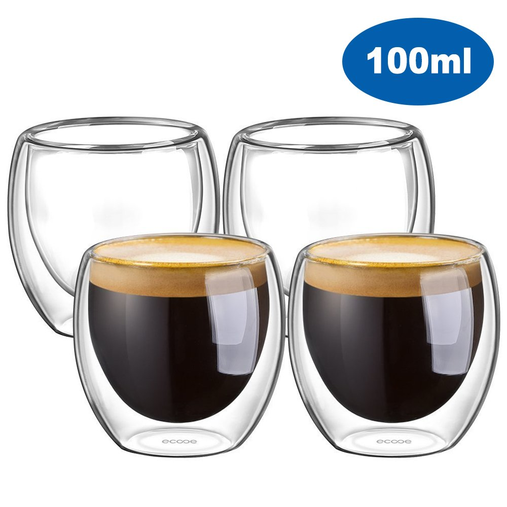 Ecooe Double Wall Espresso Cups 100 Milliliter/3.42 Ounce, Set of 4
