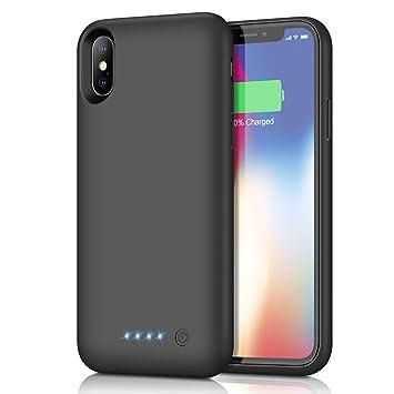 Kilponen Funda Batería para iPhone X/XS/10, [6500mAh] Funda Cargador Portatil Batería Externa Ultra Carcasa Batería Recargable Power Bank Case para ...