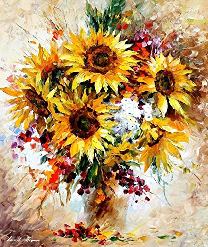 Sunflowers Of Happiness — Floral Palette Knife Flowers Oil Painting On Canvas By Leonid Afremov