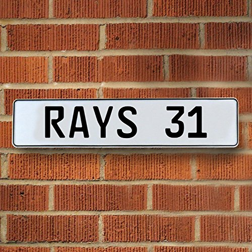 Vintage parts USA VPAY18F7 RAYS 31 MLB Tampa Bay Rays White Stamped Street Sign Mancave Wall - Ave Tampa