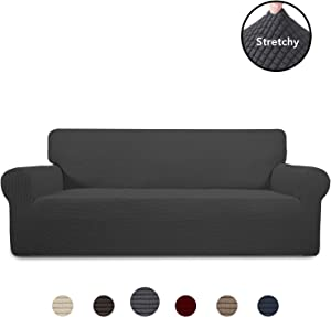 PureFit Stretch Sofa Slipcover – Spandex Jacquard Anti-Slip Soft Couch Sofa Cover, Washable Furniture Protector with Anti-Skid Foam and Elastic Bottom for Kids (Sofa, Dark Gray)