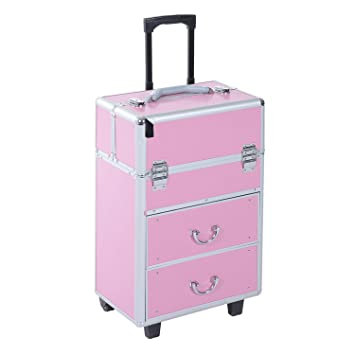 bc263885af6e Soozier 4 Tier Lockable Cosmetic Makeup Train Case with Extendable Trays -  Pink
