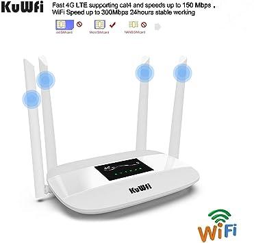 KuWFi Enrutador inalámbrico 4G CPE Desbloqueado con Ranura para Tarjeta SIM con Antena para la mayoría de Europa Trabaje con ...