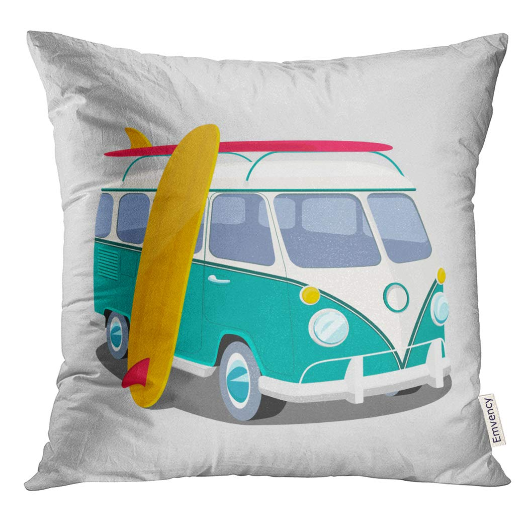 VANMI Throw Pillow Cover Bus Surfer Van Graphics Transportation and Surfing Sport Board Camper Surf Decorative Pillow Case Home Decor Square 18x18 Inches Pillowcase