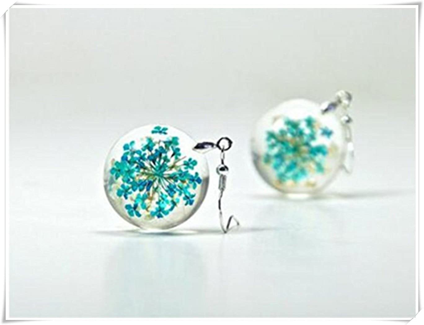 Terrarium Earrings Wooden Earrings Wood Resin Earrings Niobium Pressed Fire /& Ice Flower Earrings Resin Real Flower Jewelry
