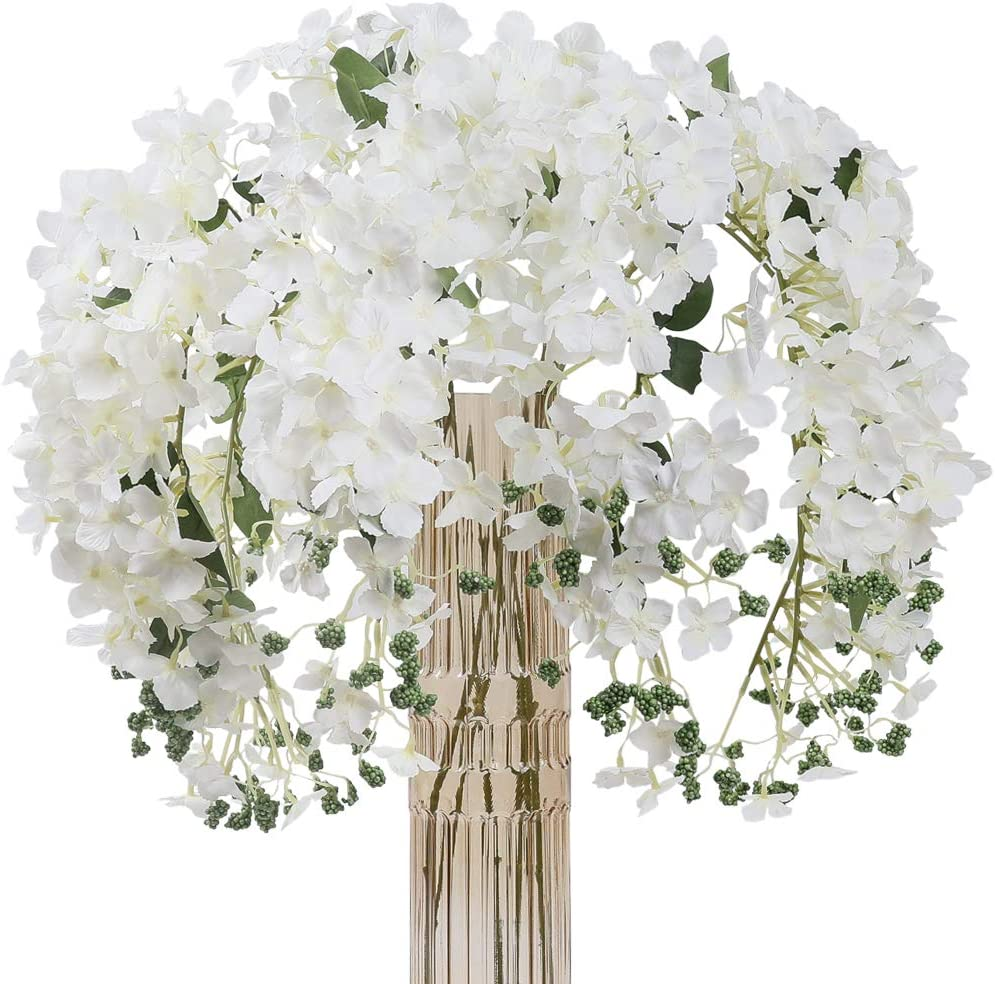 JARELING 6pcs Artificial Silk Hydrangea Flowers Long Stems Fake Flowers for Tall Vase Wedding Vine Hanging Garlands Flower for Home Office Arch Party Decoration(White)