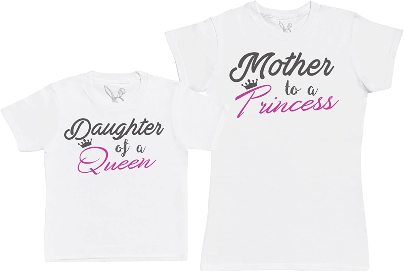 Kids Gift Set with Kids T-Shirt /& Mothers T-Shirt Baby Bunny Daughter of A Queen /& Mother to A Princess