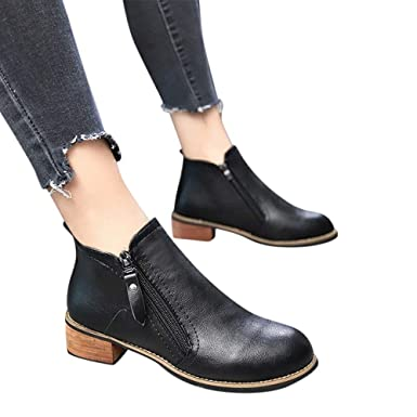 36d668fb Amazon.com: Women's Fashion Chelsea Martin Ankle Boots,Casual Chunky Thick  Heel Platform Side Zipper Round Toe PU Bootie Shoes: Clothing