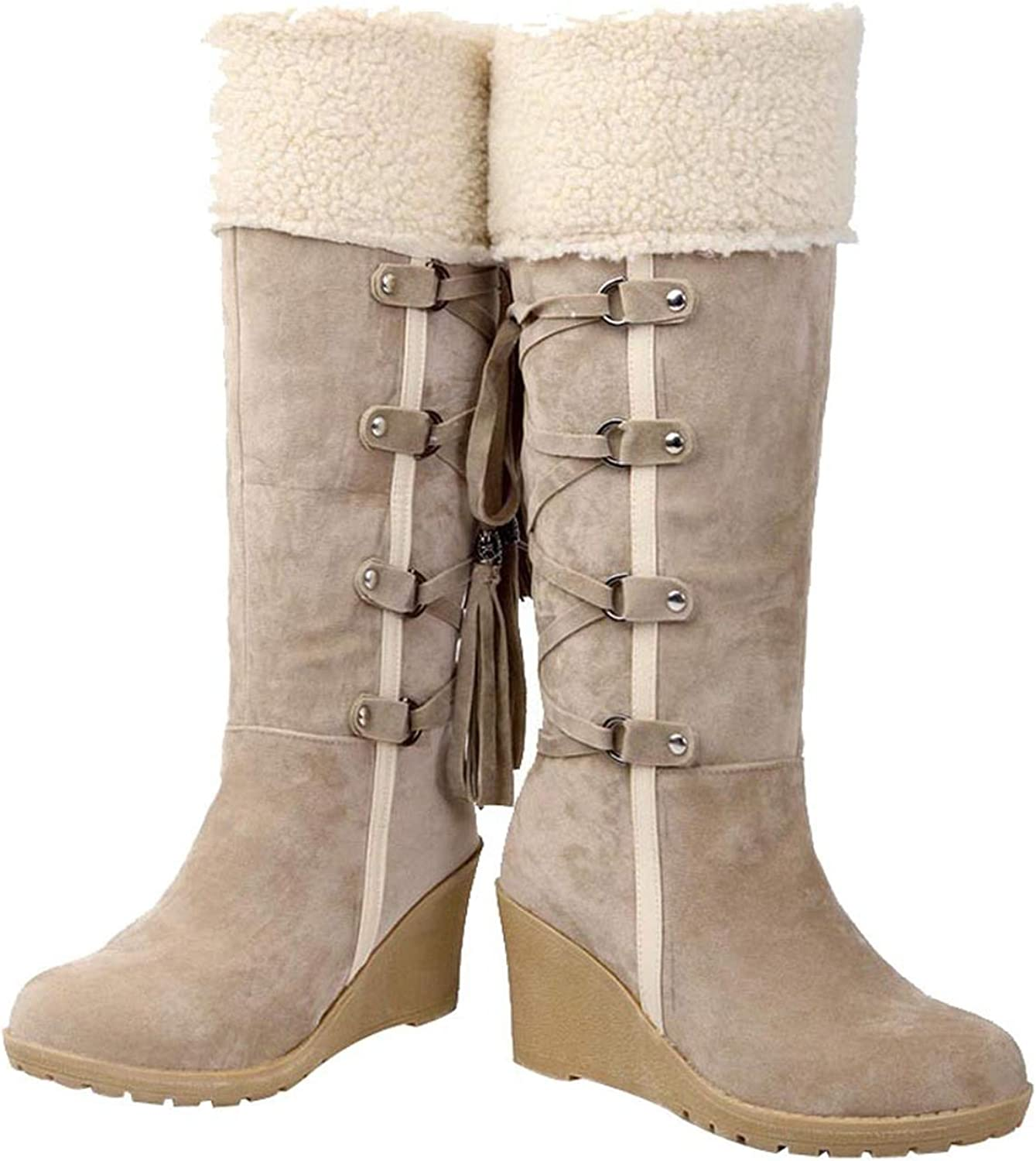 Tassels High Boots for Women Winter Snow Boots Martin Boots Winter Flats Fur-in Ankle Boots,A,37