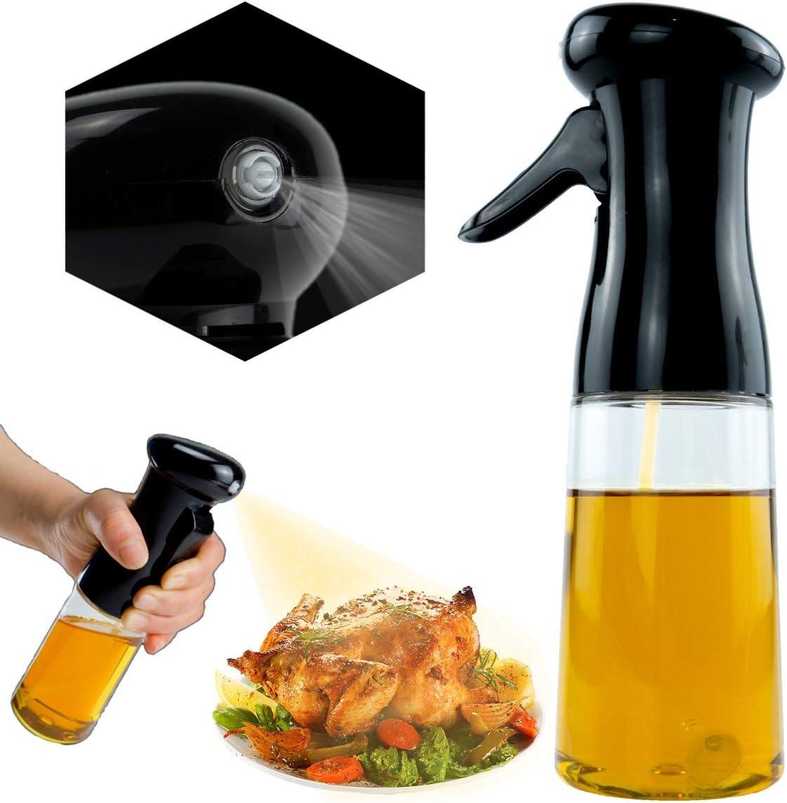 Olive Oil Sprayer for Cooking, Oil Dispenser Bottle Kitchen Gadgets Mister Spray Bottle Oil Spritzer for BBQ Salad Grilling Baking Frying,7oz/210ml Food Grade Kitchen PET Pump BPA