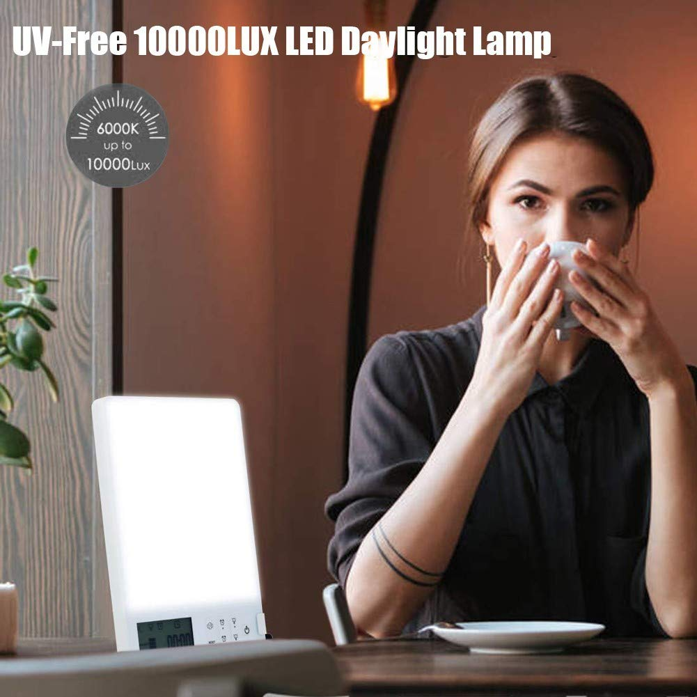 MYBW Light Therapy Lamp,sun Lamps For Seasonal Depression,with UV-Free 10000 Lux Brightness,4 Level Brightness Mimicked Sunlight Lamp Dual Color Sad Lamp,Timer Function For A Happy Life
