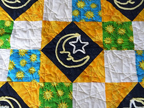 Chenille Moon and Stars and Sun Baby Quilt 40 x 48 Inches by Paula Friesen Seek and Find It
