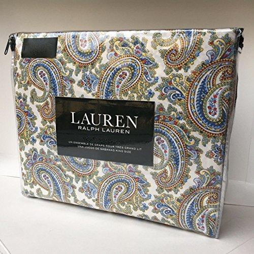 Ralph Lauren Yellow Paisley - Ralph by Ralph Lauren Lauren ROYAL PAISLEY QUEEN Size Sheet Set - 100% cotton (green blue yellow red)
