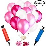 Vixker 風船 3色セット バルーン 風船パール 風船 風船リボン付 300個 加厚 ハンドポンプ 極厚 クリーム 誕生日 結婚式 飾り + 2個空気ポンプ(レッド、ピンク、ホワイト)