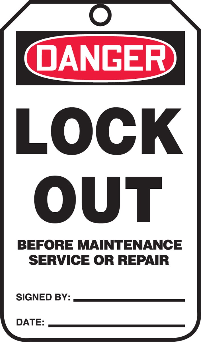 Accuform MDT238CTM PF-Cardstock Safety Tag Pack of 5 5.75 Length x 3.25 Width x 0.010 Thickness LegendDanger Lock Out Before Maintenance Service OR Red//Black on White