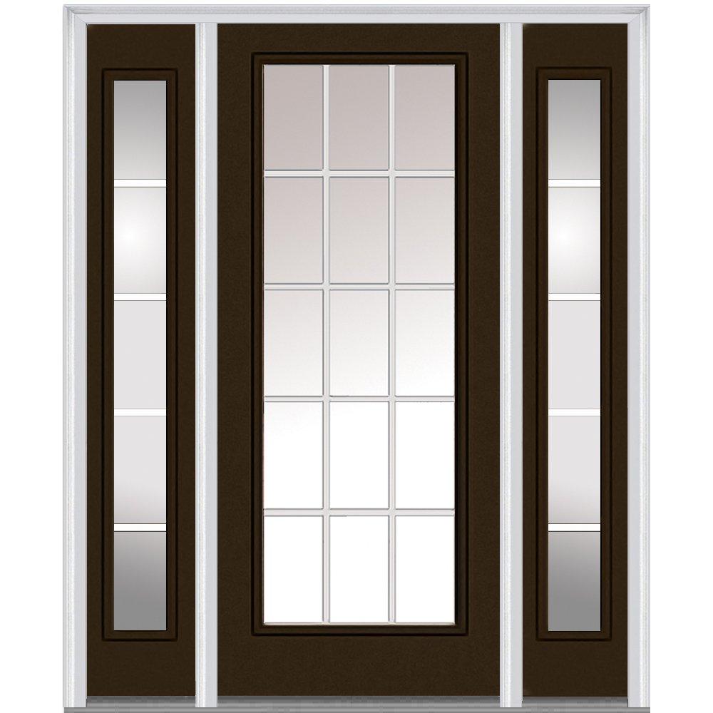 National Door Company ZA05274L Steel, Brown, Left Hand In-swing, Exterior Prehung Door, Internal Grilles Full Lite, 36'' x80 with 12'' Sidelites