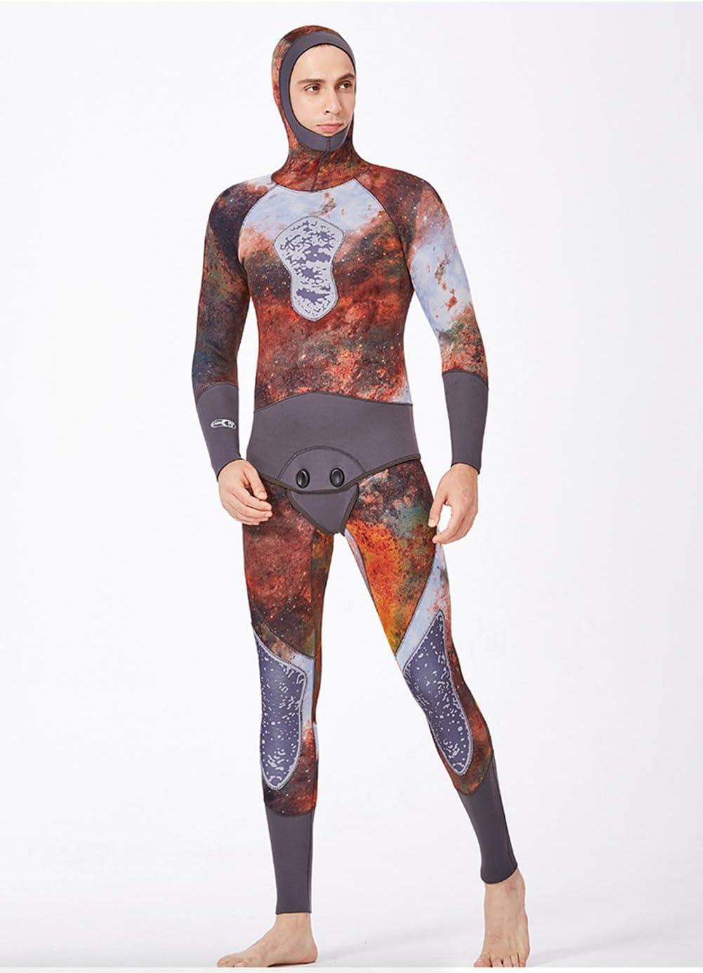 迷彩スピアフィッシングウェットスーツ男性5 Mmネオプレン2ピースフード付きスーパーストレッチダイビングスーツ,XXL  XX-Large