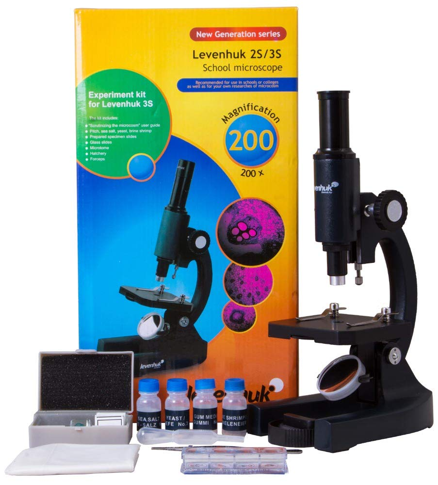 Levenhuk 3S NG Classic Metal Microscope with Accessories, Comes in a Colorful Box by Levenhuk