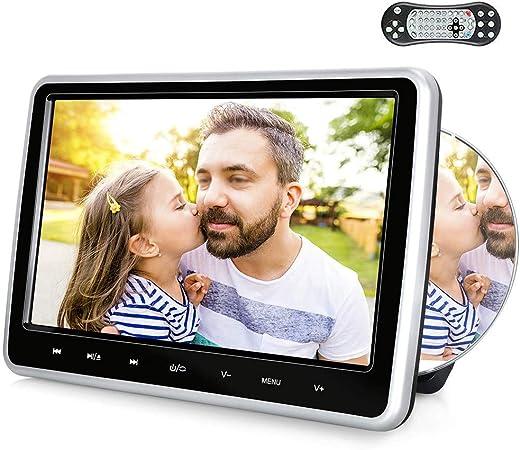 Roboraty 10 1 Zoll Auto Dvd Monitor Universal Kopfstützen Player Für Usb Sd Hdmi Gaming Kompatibel Mit Dvd Cd Cdg Mp4 Mp3 Usw Unterstützung Mehrerer Sprachen Silver Black Auto