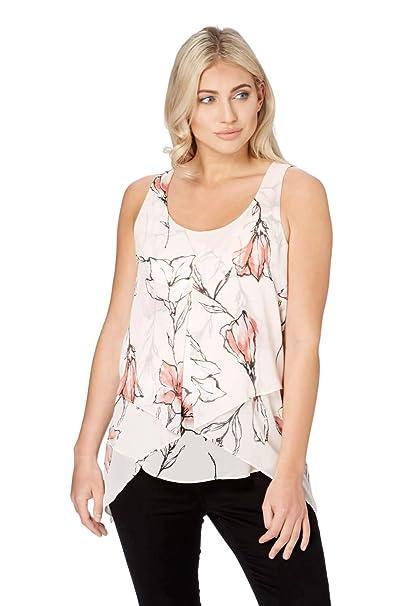 2e3509e4c7fd72 Roman Originals Women Tulip Floral Print Asymmetric Top - Ladies Summer  Spring Sun Cruise Holiday - Tunic Flowers Sleeveless Lightweight: Amazon.co. uk: ...