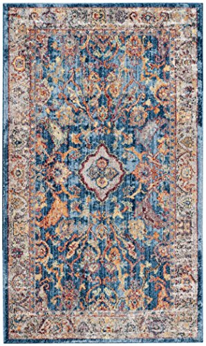 Safavieh Bristol Collection BTL361C Blue and Light Grey Vintage Oriental Distressed Area Rug (4' x 6')