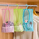 Okayji Multi Purpose Hang Mesh Bag Clothes Storage Laundry Bags for Bathroom Organizer Closet Rack Hangers, 3 - Pieces