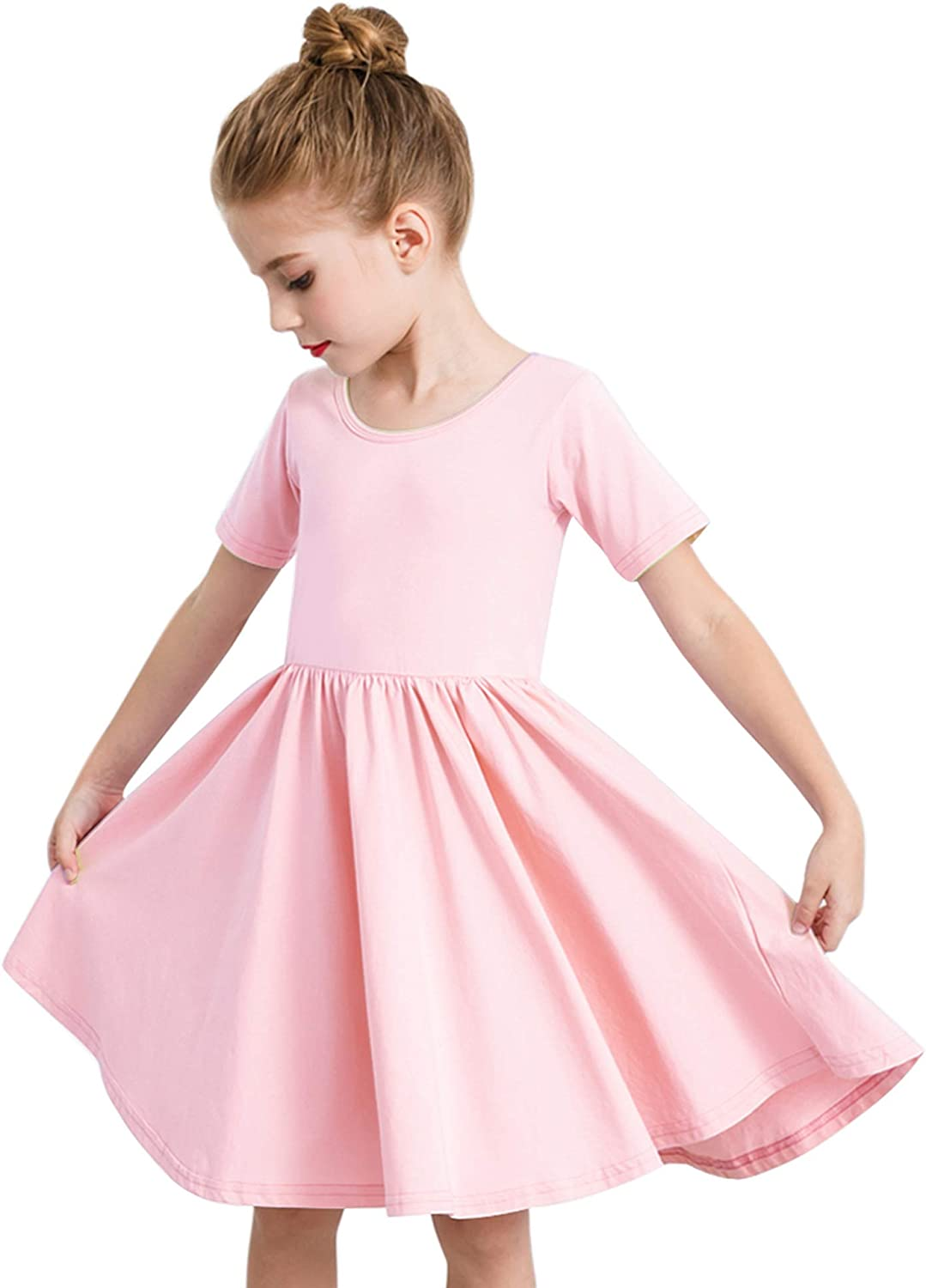 STELLE Toddler/Girls Short Sleeve Casual A-Line Twirly Skater Dress for School Party