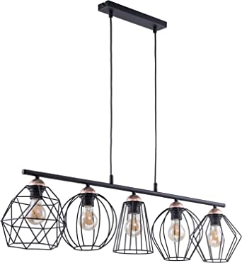 Design Pendelleuchte Schwarz Kupfer Metall 5 Flammig Langlich Stylisch Galaxy Esstisch Wohnzimmer Hangelampe