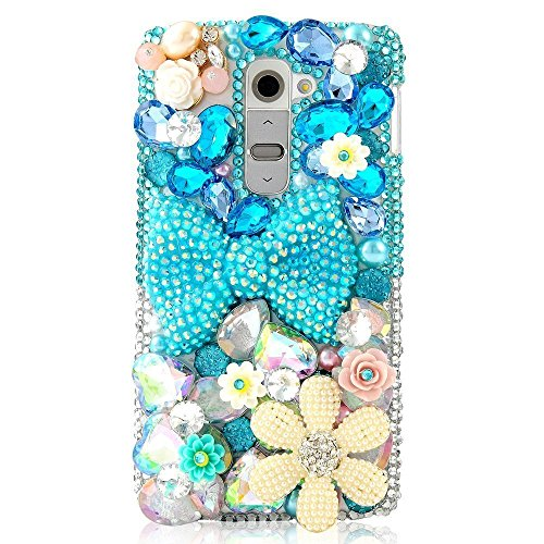 LG K7 Case, LG Tribute 5 Case, LU2000 3D Crystals Diamond Sparkle Bedazzled Jeweled Bling Phone Hard Case Cover with Retro Bowknot for LG K7/Tribute 5 All Version - Bowknot Floral (Jeweled Lg Tribute Case)