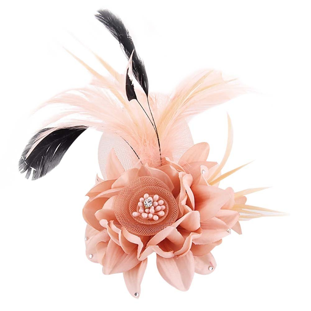 ACTLATI Charming Mesh Feather Hair Clip Women Girls Hairpin Cocktail Party Flower Barrette Fascinator Hat Pink